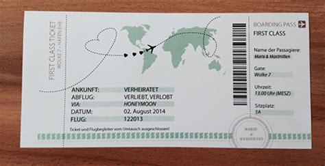 Hochzeitseinladung Boarding Pass by Diy Hochzeitsgeschenk Class Ticket Ins Ehegl 252 Ck