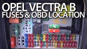 where are fuses and obd port in opel vectra b vauxhall relays on board diagnostic interface