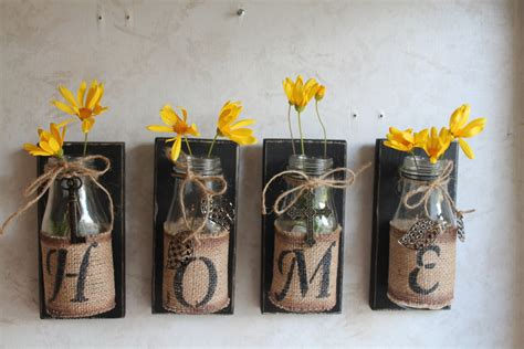 Handmade Decor - home wall decor set of 4 upcycled bottles home