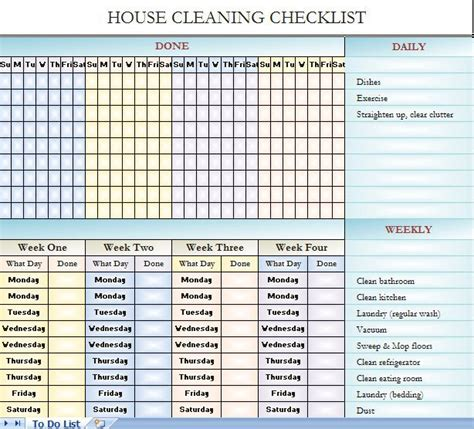 House Cleaning Checklist It S In Excel So You Can Change It To Fit Your House Cleaning Needs Warehouse Cleaning Schedule Template Excel