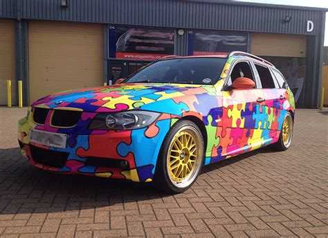 pattern vinyl car wrap car wraps bmw 3 series puzzle pattern vehicle lettering