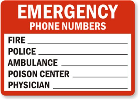 emergency number card template custom emergency sign emergency contact numbers sign