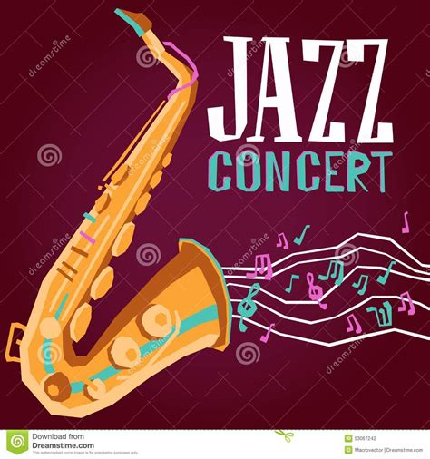 jazz poster with saxophone stock vector image 53067242