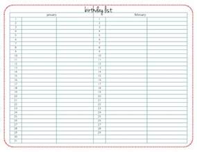 list calendar template birthday list calendar template 2016