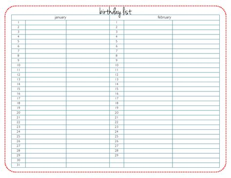 birthday list printable