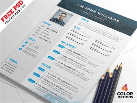 Resume 4 Free by 4 Free Creative Resume Psd Set Psdfreebies