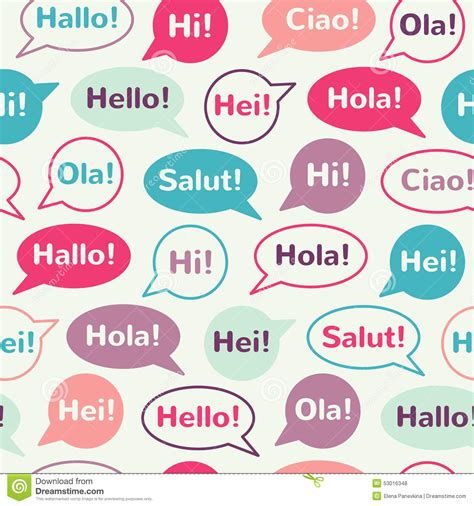 a pattern language audiobook speech bubbles with greetings seamless pattern stock
