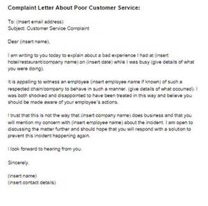 Complaint Letter Template For Poor Customer Service by Complaint Letter Poor Customer Service Sle Just