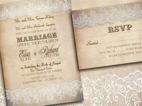 printable lace wedding invitations vintage indianapolis suite