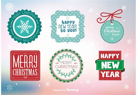merry christmas labels  stamps   vectors clipart graphics vector art