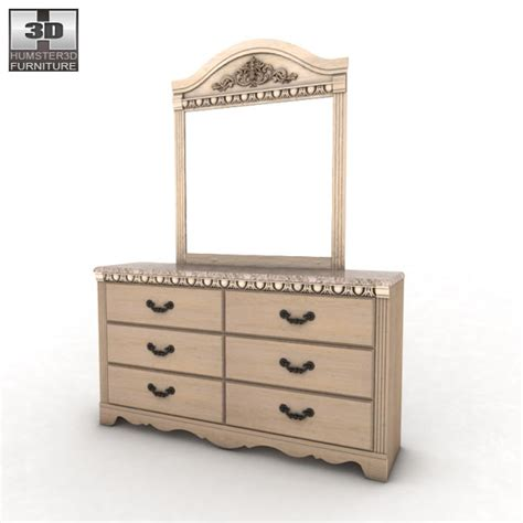 silverglade bedroom set ashley silverglade dresser mirror 3d model hum3d