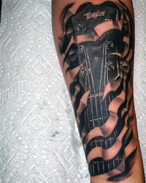 tattoo 3d guitar big black and white 3d under skin guitar tattoo on arm
