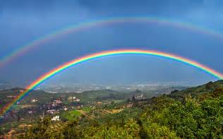 Double rainbow forms when light refracts twice within water droplets