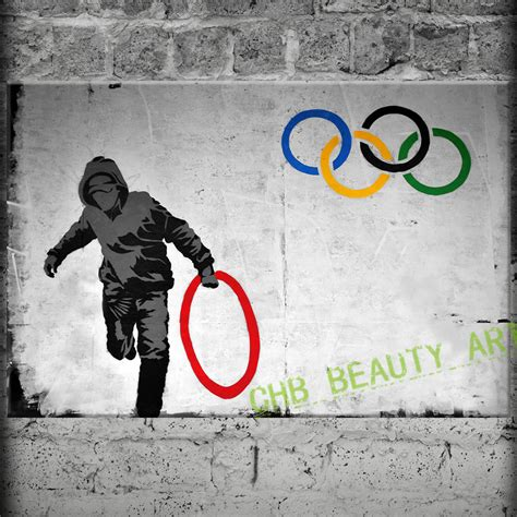 Ring 8x12 Besi 6 B 50 Pcs banksy olympic rings canvas painting wall pictures for living room wall decorative