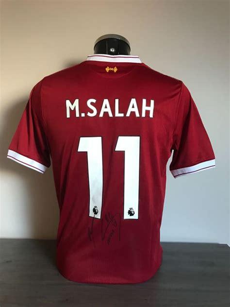 T Shirt Bola Liverpool mohamed salah gesigneerd liverpool fc home 2017 2018 shirt
