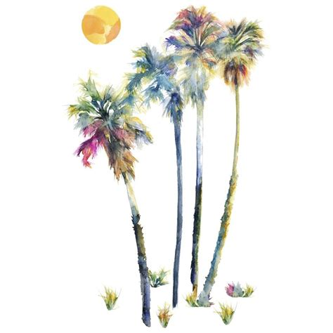 palm tree wall stickers new large watercolor palm trees wall decals tropical decor