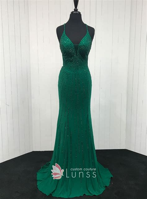 beaded green curved  neck slim mermaid sweep train long