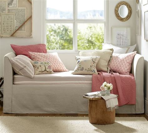 slipcovers for daybeds lewis daybed slipcover with trundle pottery barn