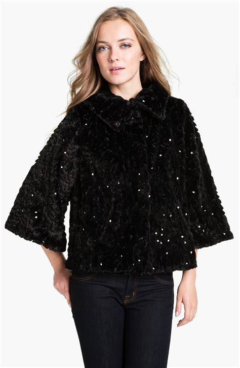 faux fur swing jacket collection xiix ashley sequin faux fur swing jacket in