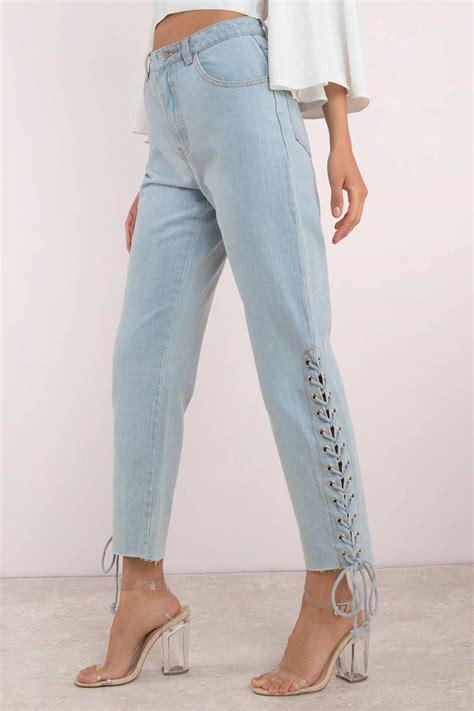 trendy light wash lace up blue 88