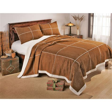 sheepskin comforter outback faux shearling bedding set 88692 blankets
