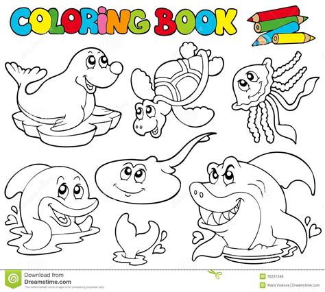 coloring books coloring book with marine animals 1 royalty free stock image image 16231346