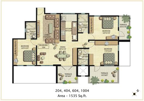 design plans raheja vistas phase ii 3 bhk floor plan