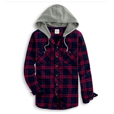 hoodie plaids shirt colorbox 2015 new hooded flannel shirt casual plaid shirts with a