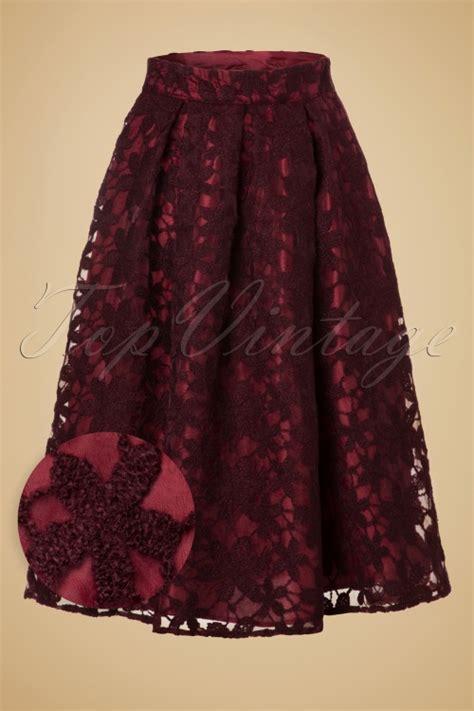 red swing skirt 50s emily floral swing skirt in wine red