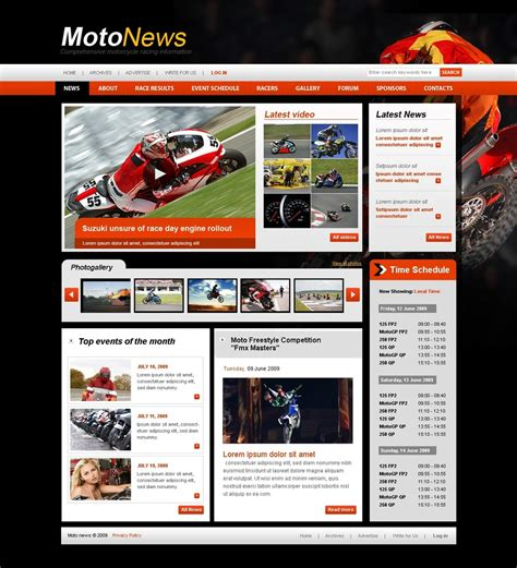Motor Sports Website Template 25229 Sports Website Templates