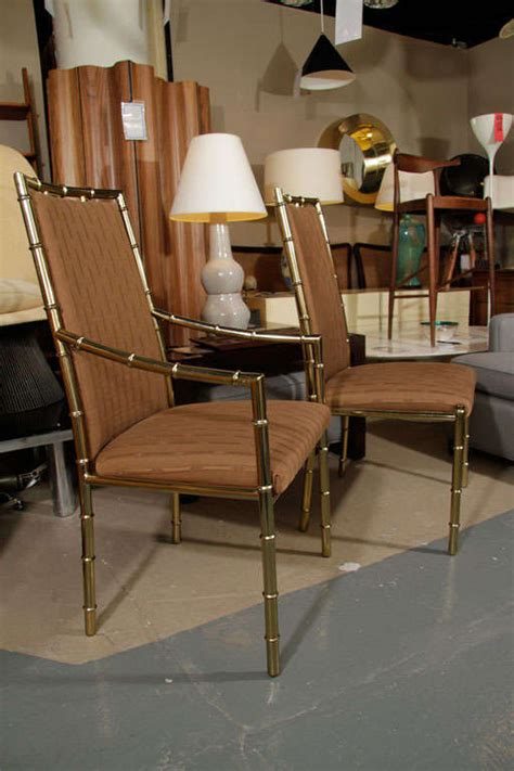 set of 1970s brass faux bamboo dining chairs by
