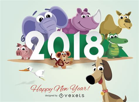 new year animals and what they animals 2018 new year greeting card vector