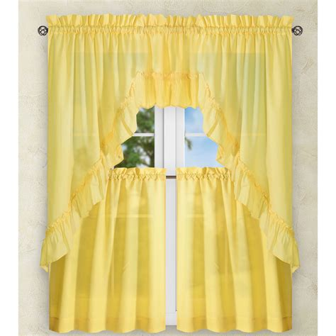 Yellow Ruffle Curtains Stacey Yellow 60 X 38 Inch Ruffled Swag Curtain Ellis Curtain Cafe Kitchen Curtains Wind