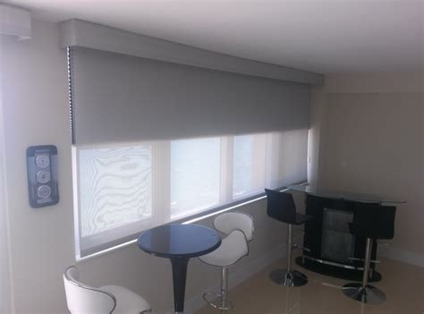 Solar Blackout Blinds motorized solar roller shades with blackout cellular modern roller shades miami by
