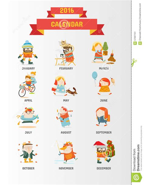 Calendario Network Calendar 2016 With Characters Stock Vector