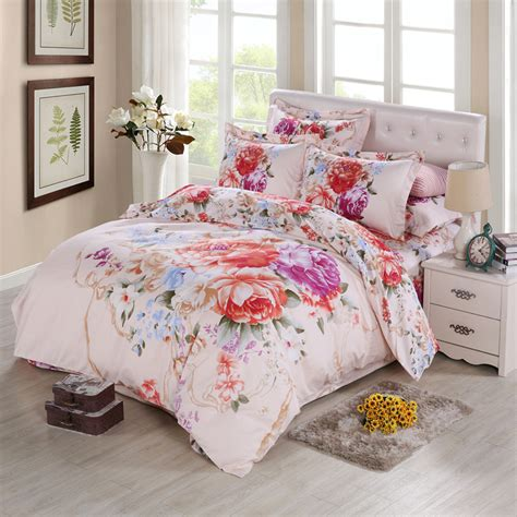 Flower Bed Set Vintage Peony 3d Watercolor Flower Bedding Sets King Size Duvet Cover Bed