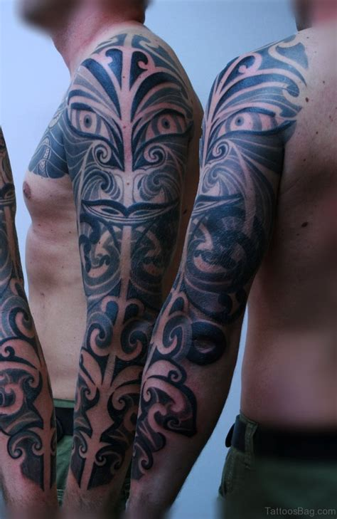 tribal full arm tattoos 56 maori designs on sleeve