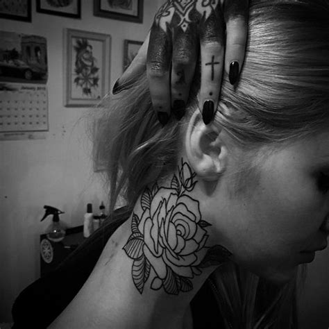 rose tattoo on neck girl 57 realistic roses neck tattoos