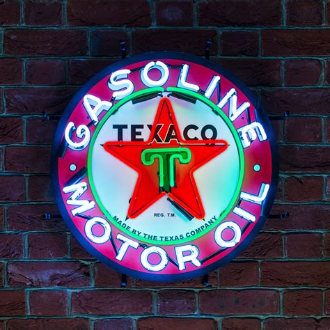 texaco motor oil neon sign  backing icon neon
