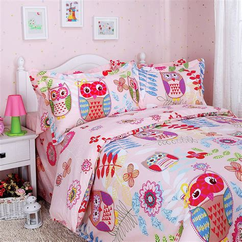 Colorful Comforters by Colorful Mart Happy Forest Pink Owl Duvet Cover Set Owl