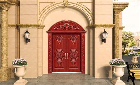 roman style villa exterior wall and door design rendering