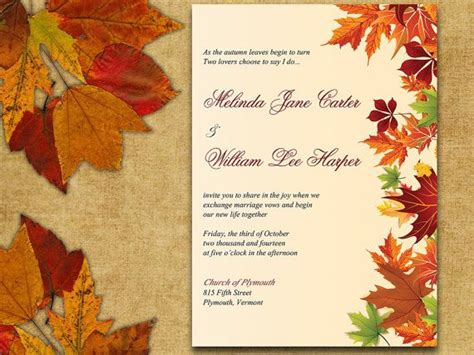 Instant Download Autumn Leaves Rustic Wedding Invite Microsoft Word Template Maple Leaves Fall Invitation Templates Free