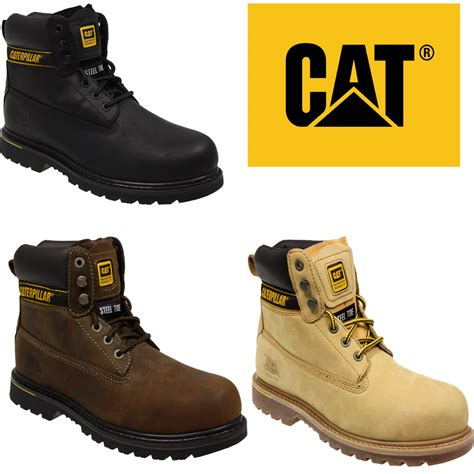 cat shoes mens caterpillar cat holton steel toe work safety leather