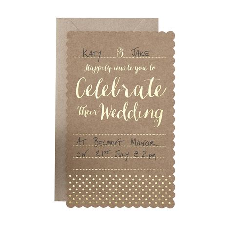 brown wedding invitations brown kraft and gold foiled wedding invitations by