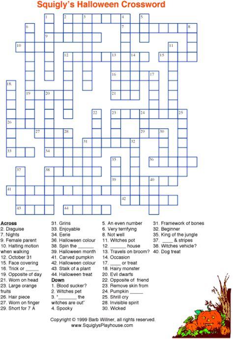4 best images of halloween easy printable crossword 7 halloween crossword printable medium level