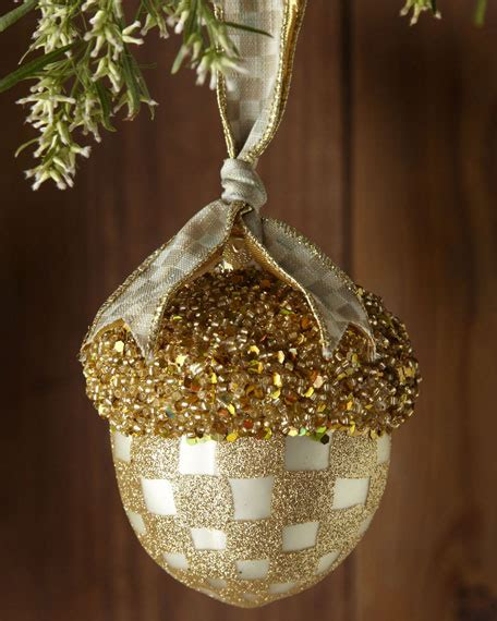 mackenzie childs parchment check acorn christmas ornament
