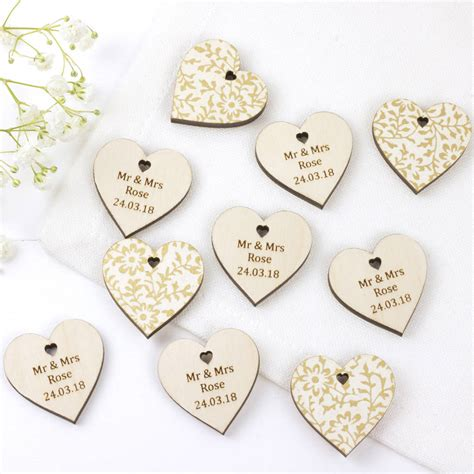 Wedding Favors by Wedding Favour Hearts Personalised By Artcuts