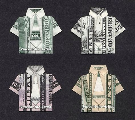 Dollar Origami Shirt - 4 beautiful money origami dress shirt collection made w