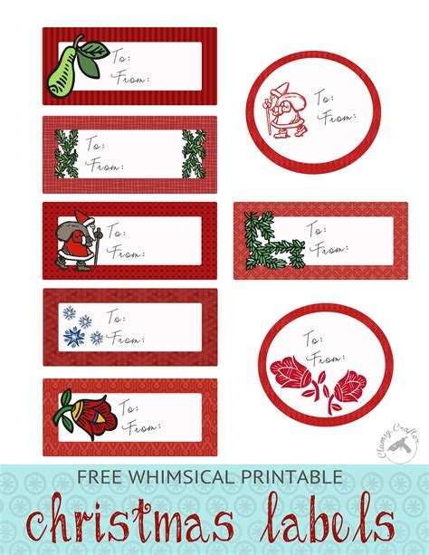 Weihnachts Etiketten Drucken Gratis by Free Whimsical Labels Clumsy Crafter