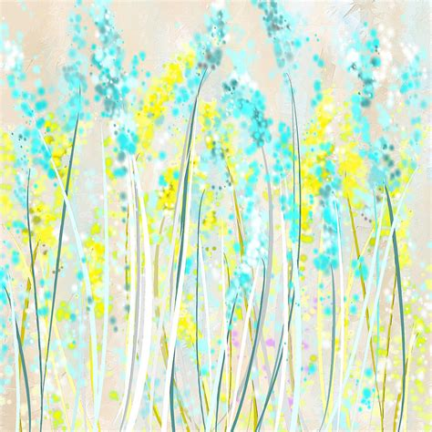 Duvet Cover Teal Indoor Spring Yellow And Teal Art Painting By Lourry Legarde